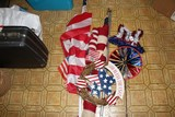 Lot - American Flags, Various Sizes, 1 w/ Metal Pole, Tinsel Star, Etc.