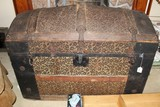 Early Camel Back Steamer Trunk  Embellished Floral Design w/ Tin/Wood trim and Tray Insert