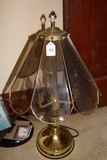 Metal Petal/Glass Motif Frosted Glass Lamp Spindle Body