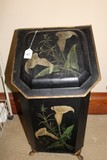 Black Metal Coal Bin w/ White Tulip Transfer, Paw Feet