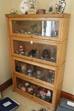 Barrister Style 4-Tier Design Wooden Bookcase w/ Glass Panes and Brass Finish Pulls