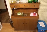 Maple Dry Sink with 3 drawers on Top Over Double Base Cabinet Panel Doors