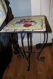 Metal/Tile Top Side Table, Curled Legs, Multi-Color Pattern Fruit Motif