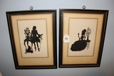 Pair - Silhouette Victorian Man/Woman Print Pictures in Frames