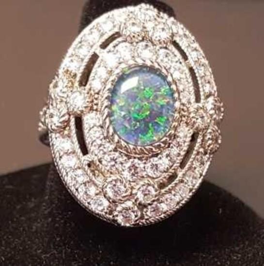 Judith Ripka Sterling OvalOpalTriplet Ring w/ 2.05 ct tw Diamonique