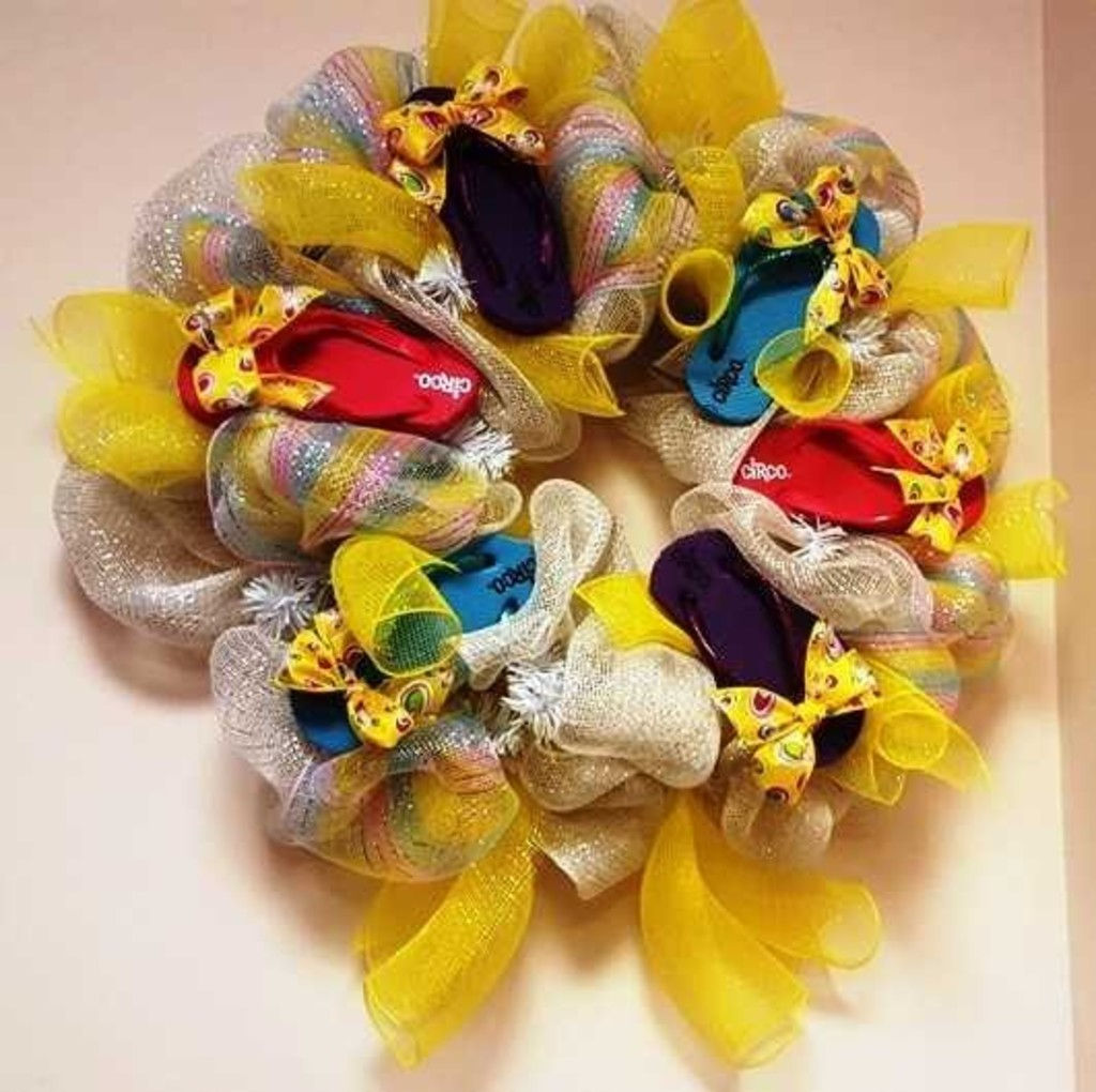 """Beach Wreath - Multi-Colored Flip-Flops & Bows"
