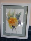 Hand Painted Water Color Tangarine Rose, Artist Signed