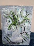 Hand Painted Acrylic White Tulips in Pitcher Vase Artist Signed on Canvas