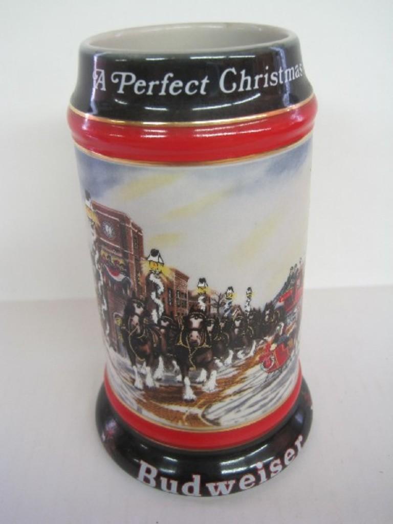 budweiser 1992 holiday series a perfect christmas stein - Budweiser Christmas Steins