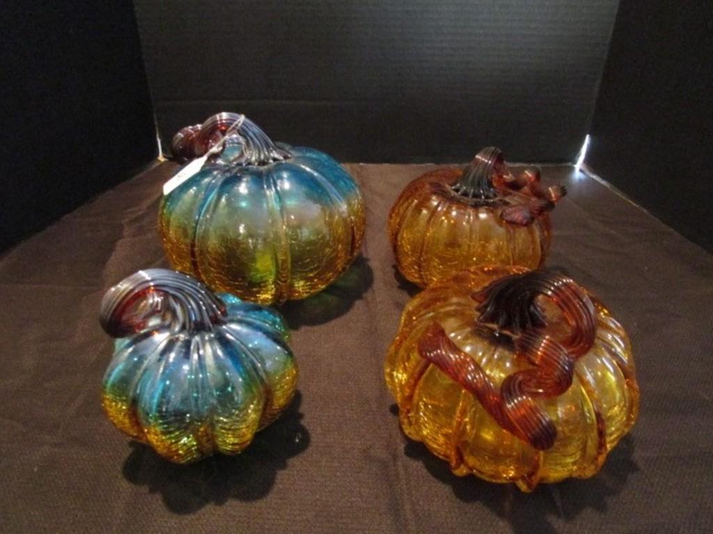 "PIER 1 Crackle Glass Pumpkin Amber Large 8/"" Teal and Gold Blue"