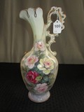 Norleans Japan Ceramic Ornate Handle, Flared Rim Pitcher, Gilted w/ Rose Motif
