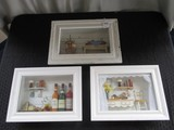 Wooden Shadow Box 3D Art Pieces Wine/Bread Kitchen, Fruits in Baskets