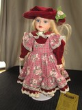 Seymour Mann Connoisseur Doll, Porcelain Face/Hands/Feet on Stand w/ Red Rose Dress