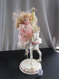 Ceramic Carousel Horse w/ Riding Girl Doll Porcelain Face/Hands/Feet Cloth Body