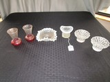 Lot - 2 Saw-Tooth Rim Glass Candle Holders, 2 Red-To-Clear Bud Vases Glass Hobnail Wide Rim