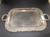 Berry/Leaf Trim Serving Silverplate Tray Ornate Base by Crescent Silversmirths 23