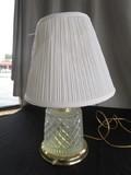 Diamond Cut Glass Body Desk Lamp Brass Base w/ Shade