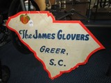 The James Glovers, Greer, S.C. Vintage Wood Advertisement Sign Shape of State