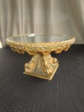 Mirror Top Stand w/ Ornate Trim, Curled Acanthus Leaf Base