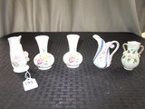 Lot - Bud Vases, Gilted, Swan Design 2 Matches Wide Bases, Etc.