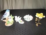 Lot - Ceramic Flowers/Shoe Décor, Flowers, Bird on Branch, Etc.