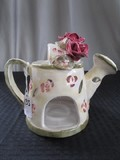 Ceramic Watering Can Design Votive Candle Holder Green/Red Flowers