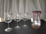 Rose Glass Wide Base Floral Rim Top Vase w/ Floral Hand Painted Motif