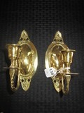 Pair - Brass Wall Sconces/Candle Holders Twist Stem, Bead Trim