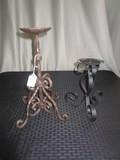 Lot - Black Metal Candle Holder Curled Design & Scalloped Top Candle Holder Curled Base