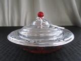 Depression Glass Condiment Dish Star-Cut Base w/ Pierced Metal 4-Leaf Clover Rim w/ Lid