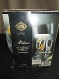 Shannon 24% Lead Crystal Milano Glass Goblets Diamond/Burst Cut Design