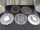Lot - Glass Condiment Platters, 1 Beaded, 2 Star-Cut Design
