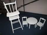 White Wooden Child's Doll Set - High Chair 25