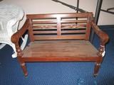 Wooden Child's Bench w/ Carved Floral Ladder Back, Spindle Columns