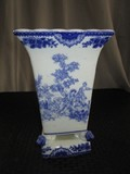 Blue/White Ceramic w/ Georgian Scene Motif Wide Square Top