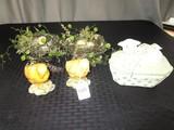 Easter Lot - Pair Chicks Ceramics, Kena Honna Lamb Trinket Dish, 2 Faux Birds Nests