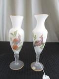NOLEANS GLASS- JAPAN 1950'S-Pair - Milk-To-Clear w/ Bird Transfer Motif, Twist Stem