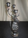 Stag Head Design 3 Arm Candle Holder Metal