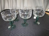 6 Wide Top Wine Glasses Green Glass Cactus Design Stem