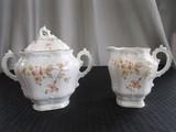 Ceramic Jar w/ Thistle Transfer Side, Ornate Curled Hands, Gitled Rims 7