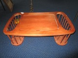 Wooden Tray w/ Flip-Top, Grooved Plate Holders, 2 Slat Side Magazine Holders