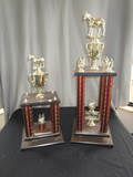 Pair - Horse Trophies Red/Sequin Column Sides Wood Base
