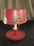 Red/Gilted Faux Candle Light Metal, Basket, Acanthus Leaf Design