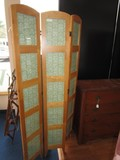 Folding Screen Wooden w/ 5 Picture Panel Design Curved Top
