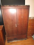 Park Wooden Wardrobe 2 Door Wave Skirt Square-Cut Trim, Curve Top, on Casters