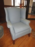 Blue Patterned Diamond Upholstered Arm Chair Wing Back Grooved Tapered Feet