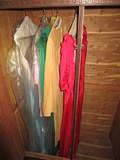 Vintage Dress Lot - 1 Red Dress w/ Floral Motif Yellow Dress, Green Dress, Pink, Blue Sequin