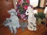 Garden Lot - Girl on Bench, Boy w/ Pig w/ Bucket Water Feature, Faux Flowers in Planters