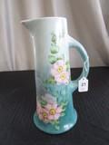 Ceramic Pitcher Pink Floral Blue Motif