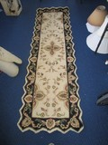 Floral/Persian Cream/Black Saw-Tooth Rim Style Runner